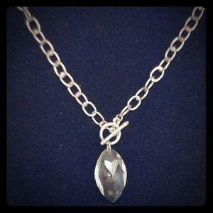 Crystal and Silver Oval Necklace